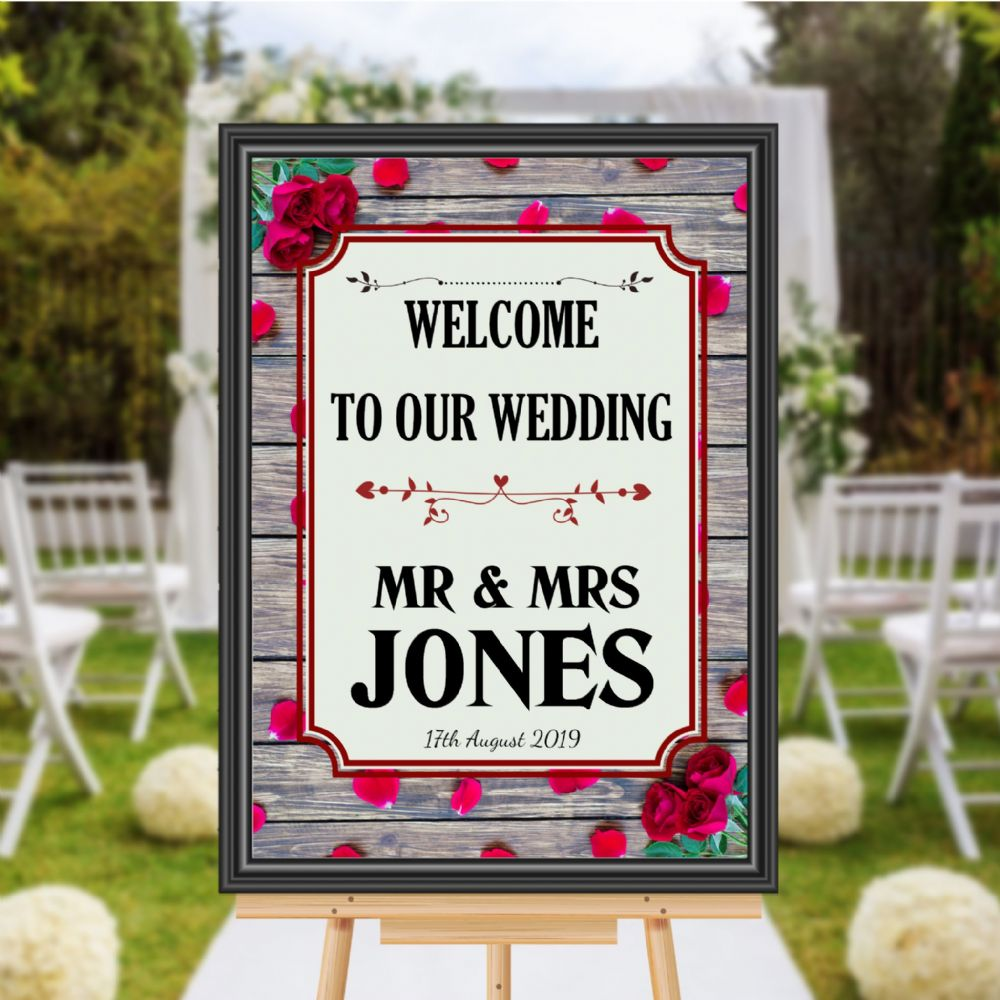 9c931baf07808 Personalised Welcome to our Wedding Sign Poster Banner - Print N169